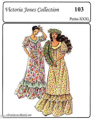 Loose-fit Traditional Muumuu Long Dress P-3XL  Victoria Jones Sewing Pattern 103