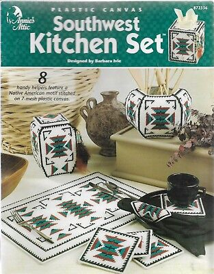 Plastic Canvas Pattern Booklet-Southwest Kitchen Set-8 Motif Designs-7 Mesh