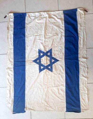 VTG Sewn Cotton Israel Flag Old Jewish Judaism Star of David LargE 1300x110cm