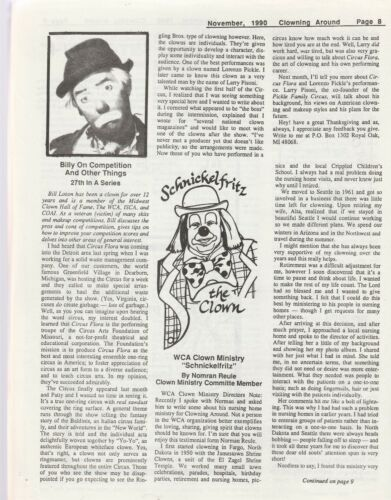CLOWNING AROUND MAGAZINE, NOV. 1990-RED SKELTON COMMEMORATION ON THE COVER