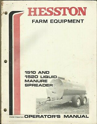 Hesston Liquid Manure Spreader 1510 1520 Form 7780471r1 Operators Manual