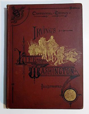 Rare Antique Irving 1883 THE LIFE OF GEORGE WASHINGTON American Revolution Book