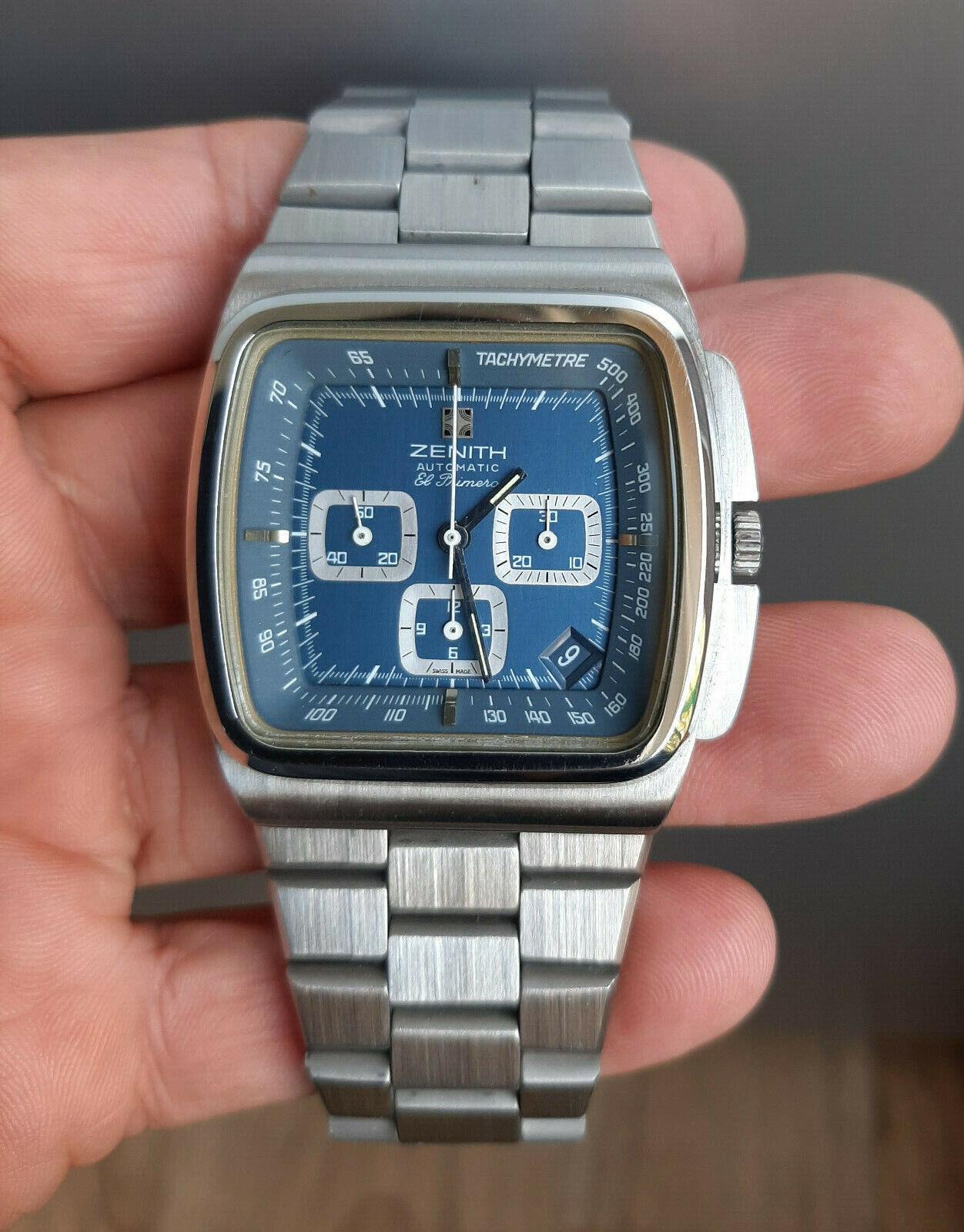 Vintage 1970's Zenith TV Case Chronograph Big Blue Ref 01-0200-415 MINT - watch picture 1