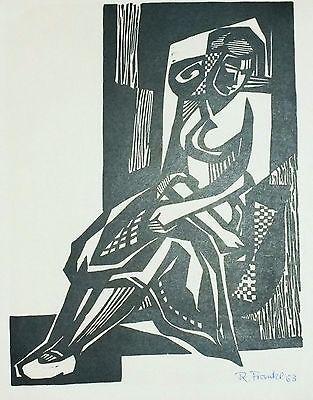 Rudolf Franke, Sitzende Frau, Linolschnitt, 1963, handsigniert (1562)