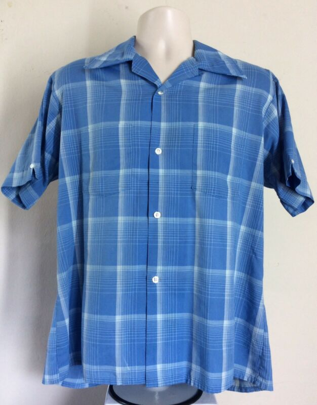 Vtg 60s Van Heusen Century Short Sleeve Loop Collar Shirt Blue Plaid L 16 16 1/2