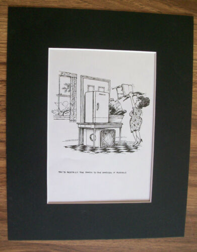 Child Cartoon Print Norman Thelwell Restrict Party Outside Bookplate 1977 Matted