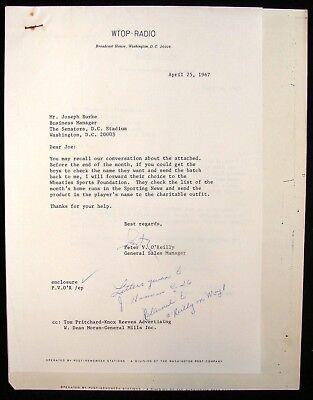 1967 Washington Senators Wtop Radio Wheaties Contest Correspondence Lot