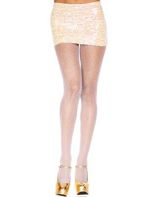 Women's Plus Size Fishnet Pantyhose Seamless Micro Net Queen Q Halloween White