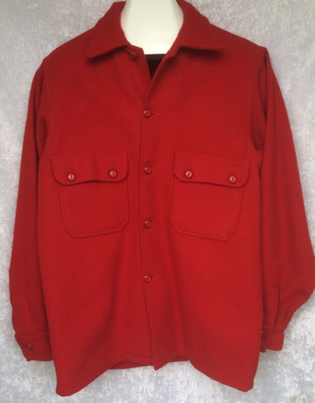 Vtg Boy Scouts Of America Red Wool Jacket Shirt Button Front Size 42