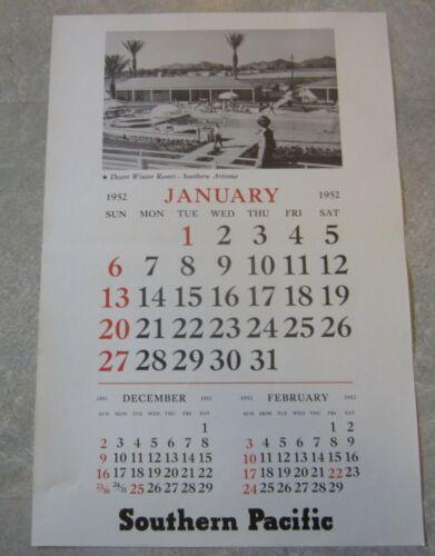 Old Vintage 1952 S.P. RAILROAD - Depot WALL CALENDAR - Southern Arizona Resort