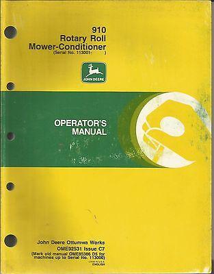 JOHN DEERE 910 ROTARY ROLL MOWER-CONDITIONER OPERATORS MANUAL