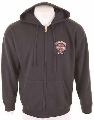 HARLEY DAVIDSON Mens Hoodie Sweater Large Black Cotton  BZ11