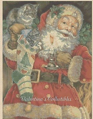 Santa with Kittens Counted Cross Stitch Chart No.4-400