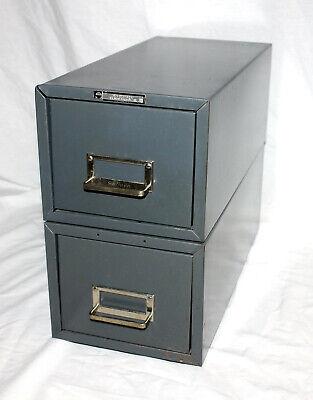 2 Vtg Steel Master Single Drawer Card File Cabinets Office Industrial Stackable