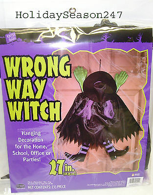 27in Wrong Way Witch Halloween Door Hanging Decoration For Home Office Parties