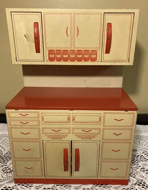 "Vintage 1950's Wolverine Tin Litho Childs Toy Stepback Cupboard 15 1/2"""