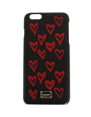 NEW DOLCE & GABBANA Phone Case Black Heart Dauphine Leather iPhone6 Plus