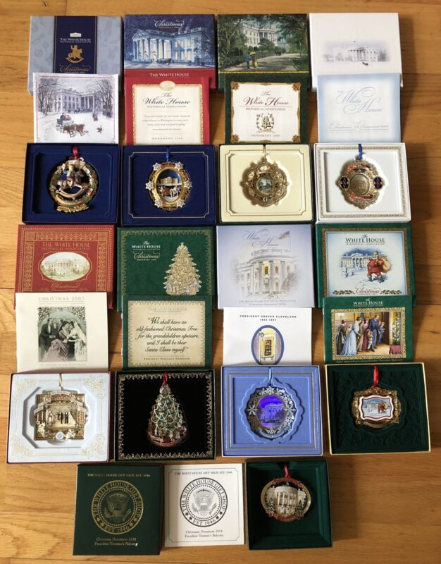 Lot 9 WHITE HOUSE Commemorative Christmas Ornaments 2003-2009 2011 2014 in BOXES