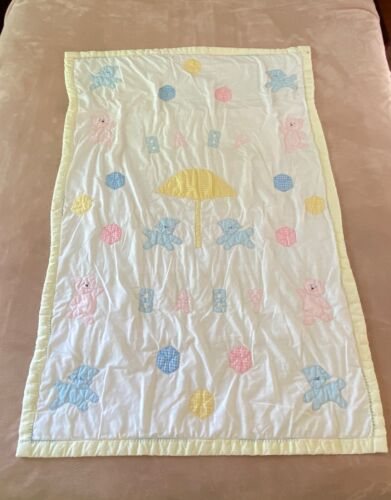 Vintage Baby Quilt Quilted Crib Blanket Appliques Lambs Bears Spell Out Handmade