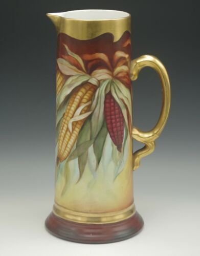 "1908 JULIUS BRAUER  CORN AUTUMN HUGE 13""  PITCHER JUG MOTHERHOUSE MILWAUKEE"