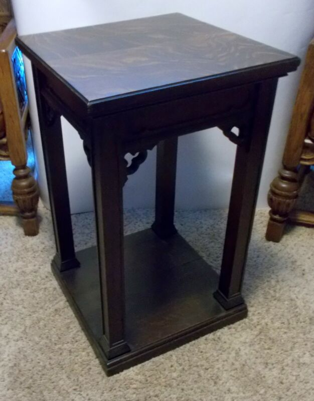 Superb Antique 19c GOTHIC REVIVAL PEDESTAL Plant Stand Hall Display Table OAK