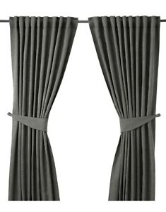 2 IKEA grey jacquard curtain panels with tie backs