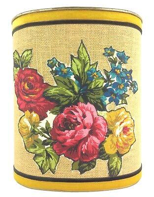 Vintage J.L. Clark Rockford IL Metal Wastebasket Burlap Velvet Floral Appliquee
