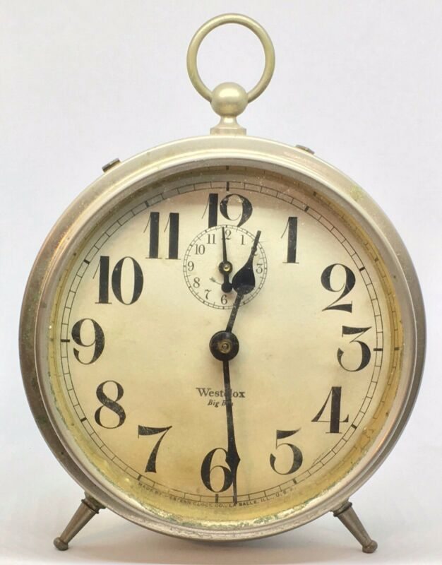 Vintage Westclox Western Clock Original Big Ben Alarm Clock 1919 Works Peg Legs