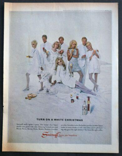 1967 Smirnoff Vodka Sexy Mid Century Couples Pose White Christmas Print Ad