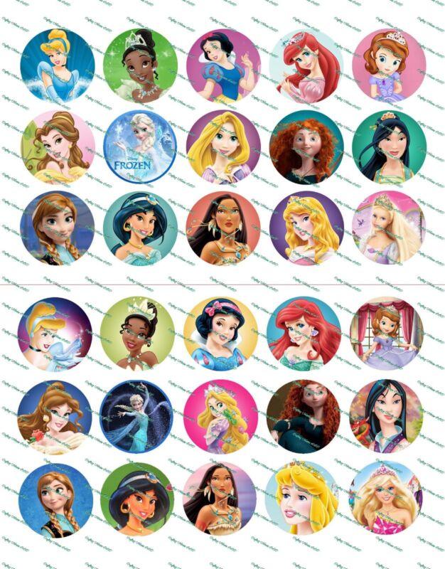 """30 Precut 1"""" Princesses Bottle cap Image Set 1"""
