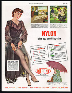 1949 Pretty Woman Lingerie Stockings Nylons Du-Pont Nylon Dupont Ad