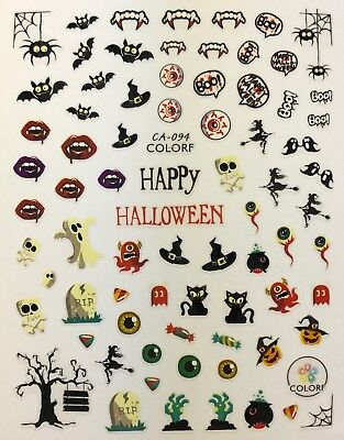 Halloween Bats Nail Art (Nail Art 3D Decal Stickers Happy Halloween Bats Vampire Teeth Boo RIP)