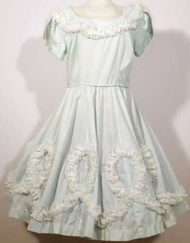CHEZ BEA VINTAGE SQUARE DANCE DRESS BABY BLUE w/ WHITE RUFFLES