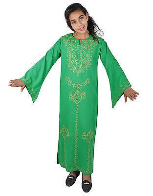 Kinder Kaftan Mädchen Kleid Prinzessin Kostüm grün/gold im 70er Look-KK00144 ()