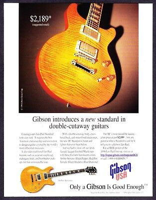 1987 VINTAGE 8X11 PRINT Ad for GIBSON USA THE LES PAUL CUSTOM LITE GUITARS