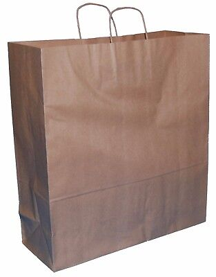 50 X LARGE BROWN KRAFT PAPER TWIST HANDLE CARRIER GIFT BAGS 15