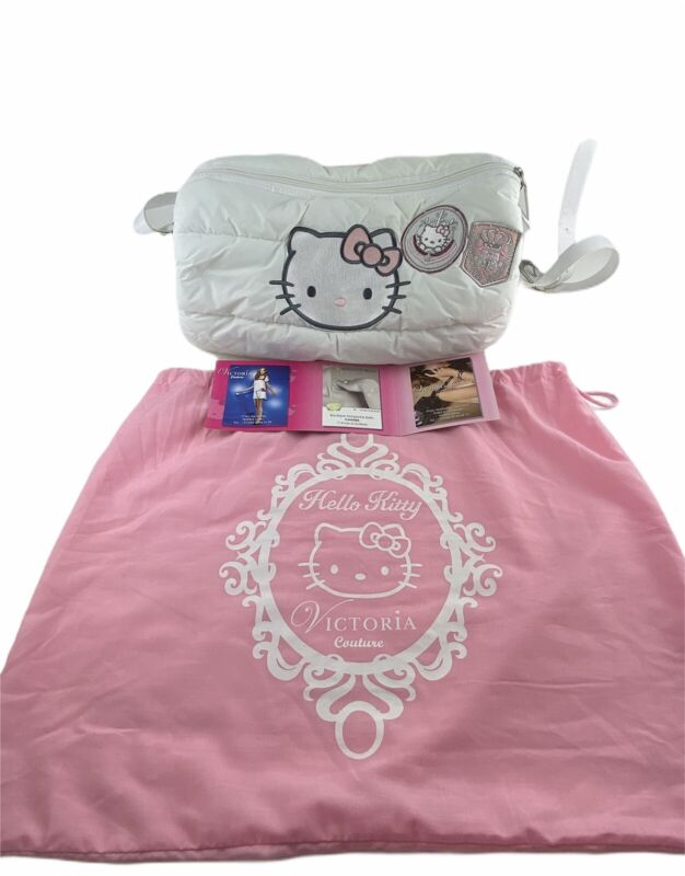 Victoria Couture Hello Kitty France White Pink Puffer Purse Bag Dust Cover