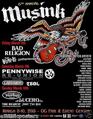 """BAD RELIGION/PENNYWISE/REVEREND HORTON HEAT """"MUSINK TATTOO"""" 2013 CONCERT POSTER"""