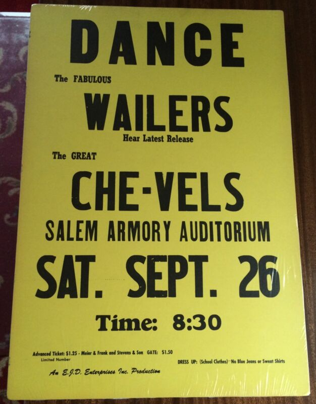 The Fabulous Wailers ORIGINAL 1964 Boxing Style Concert Poster