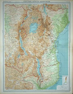 1920 LARGE MAP ~ CENTRAL AFRICA ~ EASTERN SECTION ~ 23