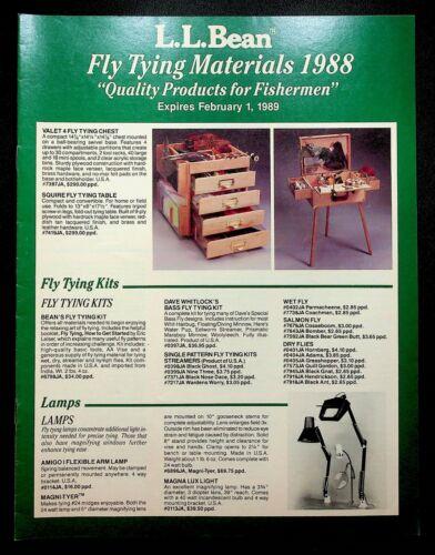 L.L. LL Bean Catalog Fly Tying Materials 1988 Fishing Equipment Gear Hooks Kits