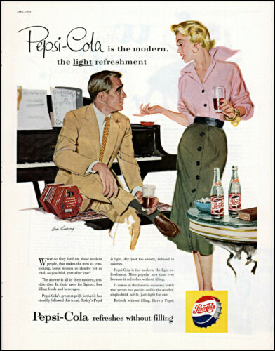 1954 Pepsi-Cola soda couple piano Robert Levering art vintage print Ad adL50