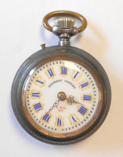 Antique Roskopf Patent Gold Gilt Borders Blue Enamel Dial Open Face Pocket Watch