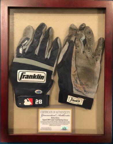 Ruben Sierra Signed Game Used Batting Gloves New York Ny Yankees Bat Baseball