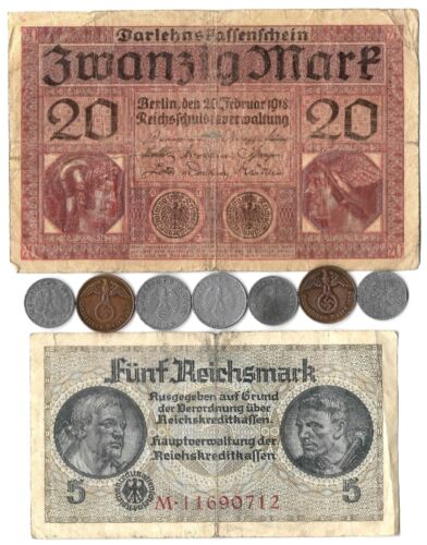 Rare Old Vintage WWI WWII Nazi Germany War Eagle Coin Note German Collection Lot