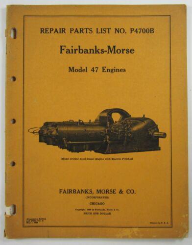 Vintage Fairbanks Morse Engine Catalog Model 47 Machinery Tools Parts List 1938