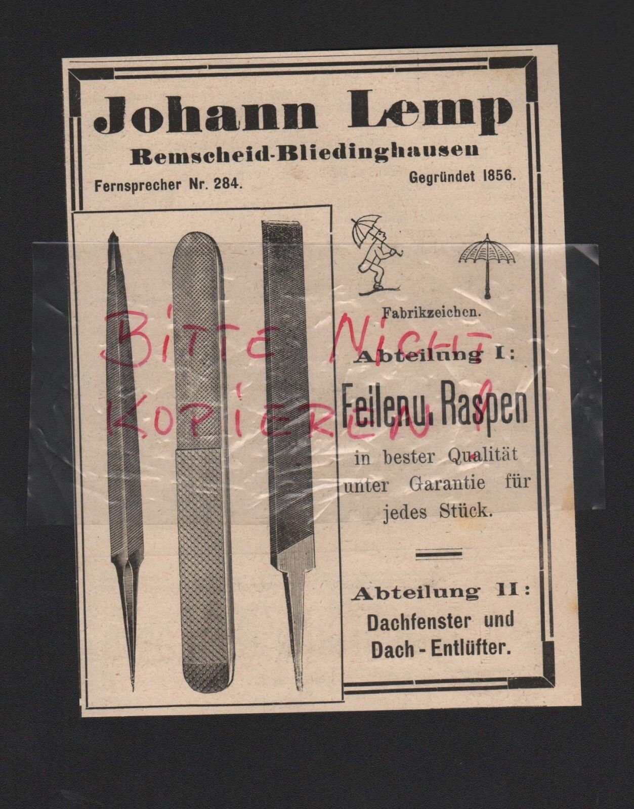 REMSCHEID-BLIEDINGHAUSEN, Anzeige 1909, Johann Lemp Feilen Raspen