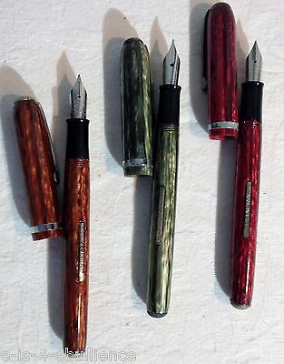 Arnold Pen Company Three Fountain Pen Set   Orange  Red  Green Unused Old Stock