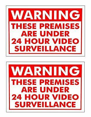 2 Video Surveillance Warning Security Signs Under 24 Hour Cctv Surveillance