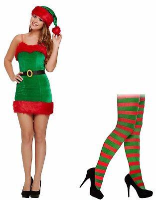 Sexy Weihnachten Weihnachtsmann-Helfer Elfen Velvet Komplettes Outfit Kostüm Eng